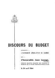 DISCOURS DU BUDGET - Gouvernement du Québec