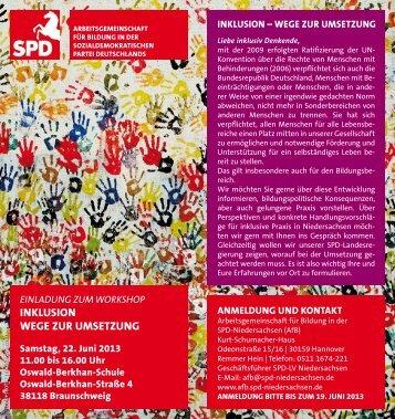 INKLUSION WEGE ZUR UMSETZUNG - SPD