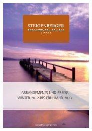 ArrAngements und preise. Winter 2012 bis FrühjAhr 2013.