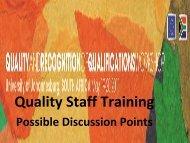 Quality Staff Training - Africa-EU Partnership