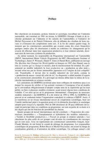 Preface a Quel modele productif.pdf - Michel Freyssenet