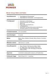 Monier Group: Daten und Fakten