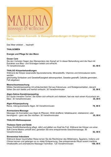 Preisliste Maluna Massage -  Steigenberger Hotels and Resorts