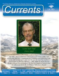 Currents Spring 2007 (PDF) - Shiley-Marcos Alzheimer's Disease ...