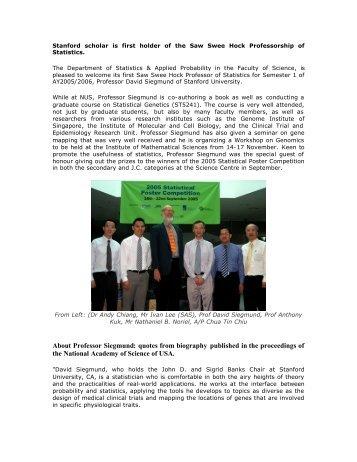 Professor David Siegmund - Department of Statistics and Applied ...