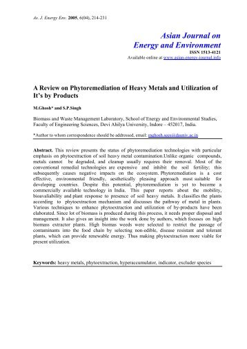 A review on phytoremediation of heavy metals and utilisation of it s ...
