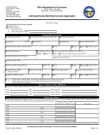 Individual Surety Bail Bond License Application - Ohio Department ...