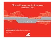 Skonsolidowane wyniki finansowe PKN ORLEN 2kw.2012r. - wseie