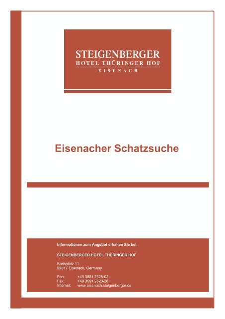 Eisenacher Schatzsuche - Steigenberger Hotels and Resorts