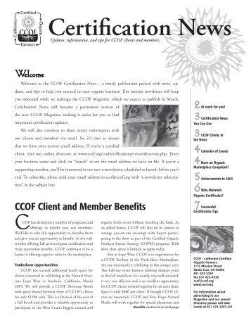 Certification News - CCOF