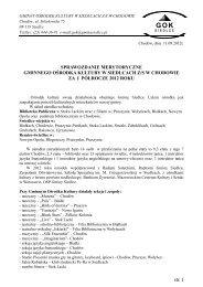 Sprawozdanie GOK - I półrocze 2012 - Urząd Gminy Siedlce