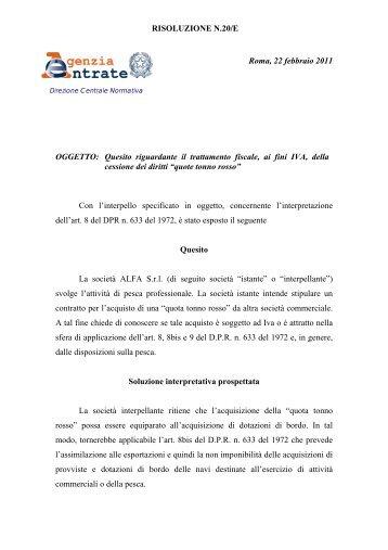 Risoluzione n. 14/E 2005 dellAgenzia delle Entrate