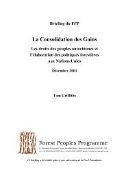 La Consolidation des Gains - Forest Peoples Programme