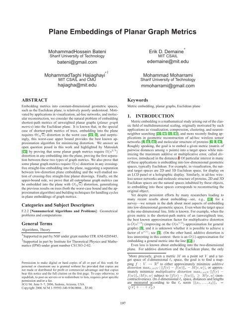 Plane Embeddings of Planar Graph Metrics - ACM Digital Library