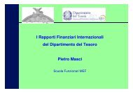 I Rapporti Finanziari Internazionali del Dipartimento del Tesoro ...