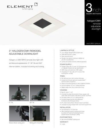 """3"""" halogen/cmh remodel adjustable downlight - Tech Lighting"""