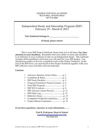 ISIP 2013 Notebook - George Stevens Academy