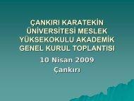 2009 Yılı Bahar Dönemi Akademik Genel Kurul Toplantısı - Meslek ...