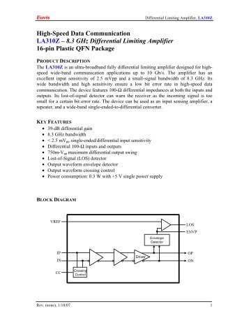 High-Speed Data Communication LA310Z – 8.3 GHz ... - Euvis Inc.