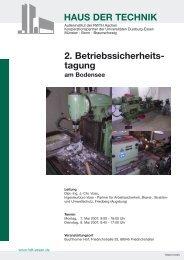 HAUS DER TECHNIK 2. Betriebssicherheits- tagung - Ingenieurbüro ...