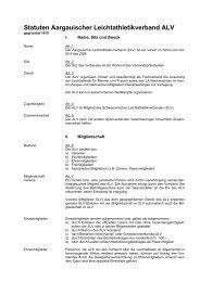 Statuten Aargauischer Leichtathletikverband ALV