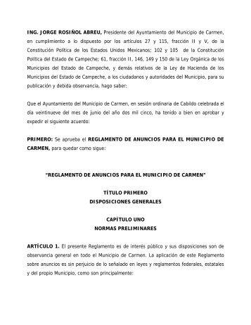 Reglamento de Anuncios para el Municipio de Carmen - H ...