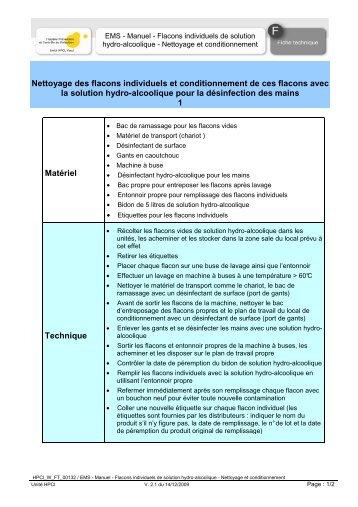 Manuel - Flacons individuels de solution hydro-alcoolique - HPCI