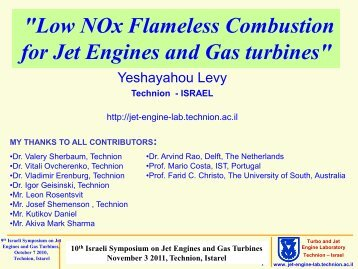 """""""Low NOx Flameless Combustion for Jet Engines and Gas turbines"""""""