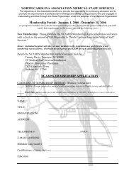 January 1, 2006 - December 31, 2006 NCAMSS MEMBERSHIP APP