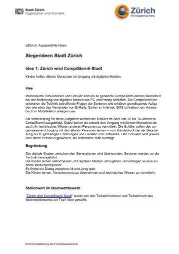 Siegerideen Stadt Zürich - eZürich