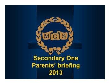Sec 1 Parents' Briefing slides - Methodist Girls' School