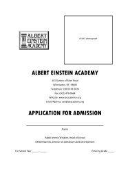 ALBERT EINSTEIN ACADEMY APPLICATION FOR ADMISSION
