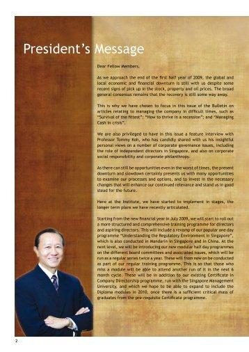 President's Message - Singapore Institute of Directors