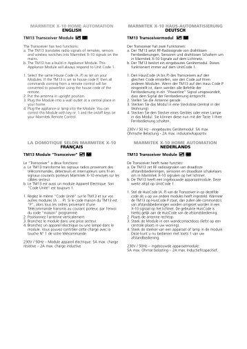MARMITEK X-10 HOME AUTOMATION ENGLISH ... - Okos Otthon