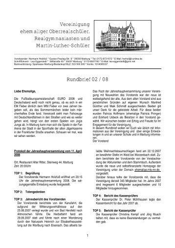 Rundbrief 2/2008 - Ehemalige der Martin-Luther-Schule