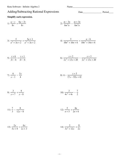 Adding+Subtracting Rational Expressions - Eastchester High School