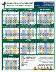 SK/JK Calendar Here - Windsor-Essex Catholic District School Board