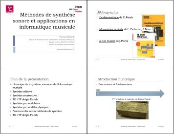 Méthodes de synthèse sonore et applications en informatique ...