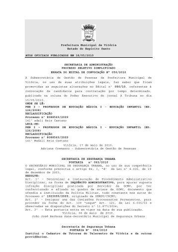 Atos Oficiais publicados em 18/05/2010 - Prefeitura de Vitória