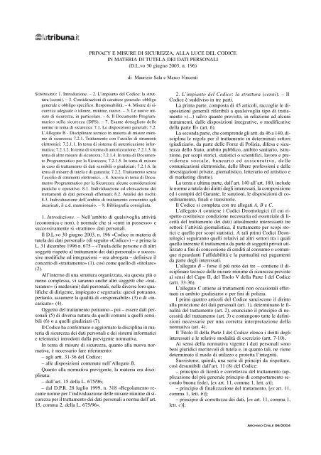 PRIVACY E MISURE DI SICUREZZA, ALLA LUCE DEL ... - La Tribuna