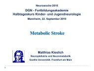 Metabolic Stroke Krankheitsspektrum - Neurowoche 2010