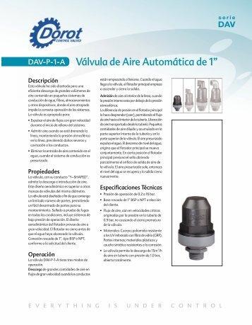 "Válvula de Aire Automática de 1"" - Dorot Control Valves"