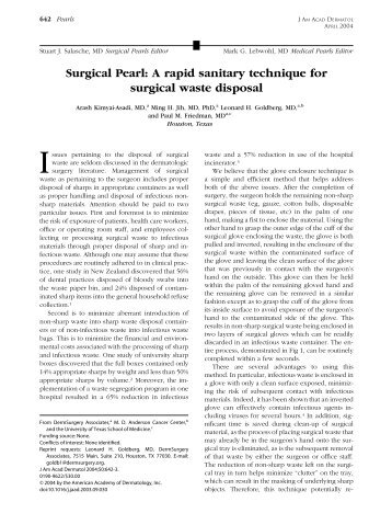 Surgical Pearl: A rapid sanitary technique for surgical waste disposal