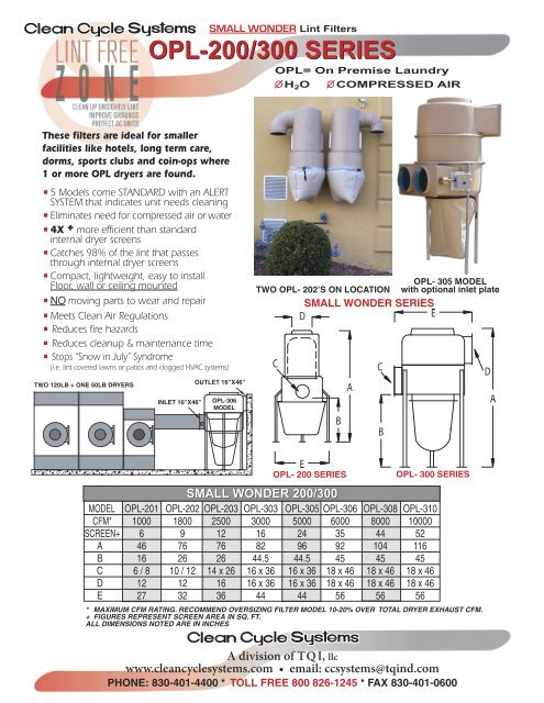 Download 2013 OPL Brochure - Clean Cycle Systems