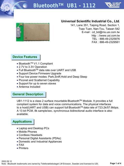 BluetoothTM UB1 - 1112