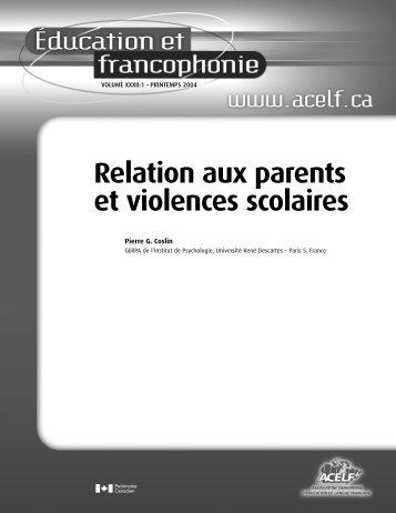 Relation aux parents et violences scolaires - acelf