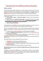Istruzioni per l'uso della procedura telematica