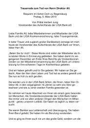 Trauerrede zum Tod von Herrn Direktor Alt Requiem im ... - LIGA Bank