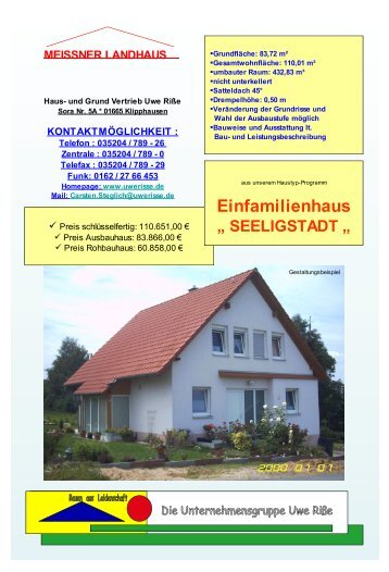 """Einfamilienhaus """" SEELIGSTADT - Uwe Risse Hoch"""