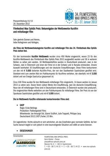 Die Werke in den Wettbewerbskategorien Kurzfilm und mittellanger